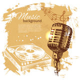 Music vintage background. Hand drawn illustration Royalty Free Stock Images