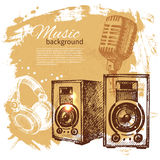 Music vintage background. Hand drawn illustration Royalty Free Stock Photography