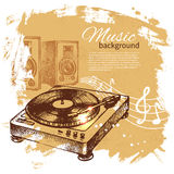 Music vintage background. Hand drawn illustration Stock Photo