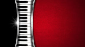 Music Vintage Business Card. Piano keyboard on black and red velvet background and metal stripes - business card music Stock Images