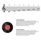 Music, vinyl, Abstract treble clef, notes Vector background Stock Image