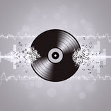 Black and White Vinyl Music Background Stock Image