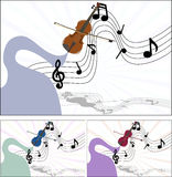 Music of the violin. Illustration,where wooden violins plays music Stock Photo