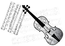 Music. Violin on background with music note Royalty Free Stock Images