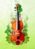 Music and violin with flowers and smoke Stock Photos