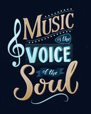 Music is the voice of the soul. Inspirational quote typography, vintage style saying at blue background. Dancing school. Wall art poster vector illustration
