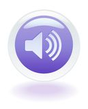 Music Volume icon. Internet glowing speaker volume button Royalty Free Stock Photo