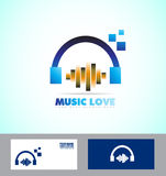 Music volume sound headphones icon logo Stock Photography