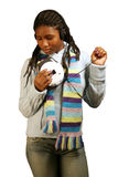 Music W/ Clipping Path. A beautiful teenage girl listening to music with her eyes closed. With clipping path Stock Images