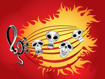 Music wallpaper with skulls Stock Photography