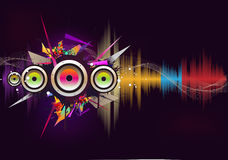 Music wave. Musical colors wave with loudspeaker royalty free illustration