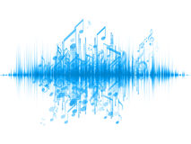 Music Wave. Interplay of sound wave and notes on the subject of music, audio and sound technology Stock Images