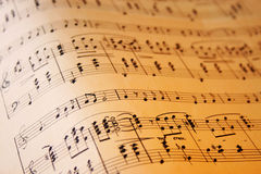 Music wave. Sheet of music notes on an old grunge paper Royalty Free Stock Image