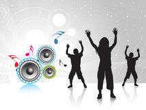 Music wave background. Dancing children with music wave background Stock Photography