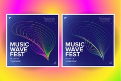 2 Music wave poster design. Sound flyer with abstract gradient line waves. Isolated vector illustration. 2 Music wave poster design. Sound flyer with abstract vector illustration