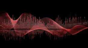 Music wave- red vector illustration