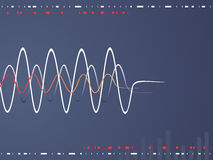 Music waves. Illustration of music waves on a blue background Royalty Free Stock Images