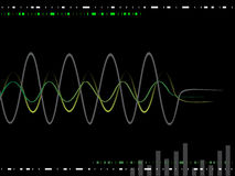 Music waves. Illustration of colorful waves on a black background Royalty Free Stock Photo