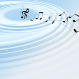 Music waves. Music symbol and blue waves Stock Photos