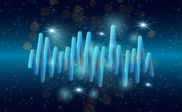 Music waves background. 3D sound music equalizer with lights stock illustration