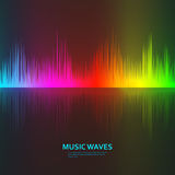 Music waves background. Rainbow sound music equalizer with reflection Royalty Free Stock Images