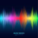 Music waves background. Rainbow sound music equalizer Royalty Free Stock Photos