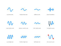 Music waves color icons on white background Stock Photography