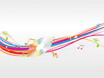 Music waves with notes and cd Royalty Free Stock Photos