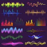 Music waves of sound on radio vector audio sounding waveform and wavelength of soundtrack and waved voice with soundwave Royalty Free Stock Photography