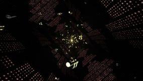 Music Waves TUNNEL, Radio, Lights Bulbs Animation, Rendering, Background, Loop stock footage