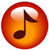 Music web button or icon. Red musical note web button or icon - vector Royalty Free Stock Image