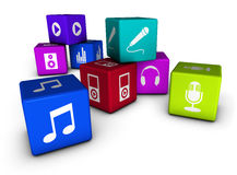 Music Web Icons On Colorful Cubes. Music website and Internet concept with web icons on colorful cubes isolated on white background Stock Photography