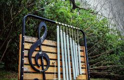 Music of the wind. Wind pipes on a trail stock photography