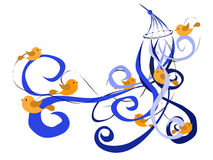 Music wind vecto. Wind music with ribbons and birds vector Stock Image