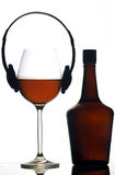 Music and wine. Fun concept of mixing wine with music Royalty Free Stock Photography