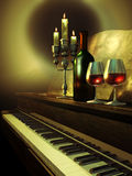 Music and wine stock illustration