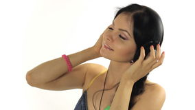 Music. Woman dancing with  headphones listening to Royalty Free Stock Photography
