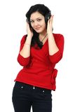 Music woman and headphones Royalty Free Stock Images