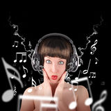 Music Woman with Headphones Stock Images