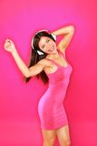 Music woman with headphones dancing royalty free stock photography