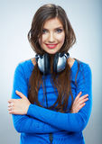 Music woman isolated portrait. Female model studio isolated. Royalty Free Stock Image
