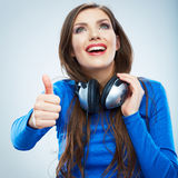 Music woman isolated portrait. Female model studio isolated. Royalty Free Stock Photography