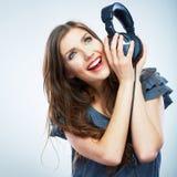 Music woman isolated portrait. Female model studio isolated. Royalty Free Stock Photos