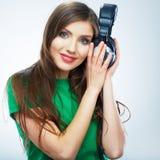 Music woman isolated portrait. Female model studio Stock Photo