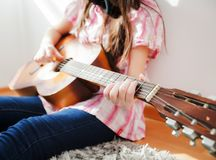 Music woman play acoustic guitar Royalty Free Stock Photos