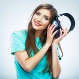 Music woman  portrait. Female model studio isolated. Stock Images