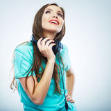 Music woman  portrait. Female model studio isolated. Royalty Free Stock Photography