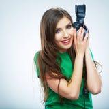 Music woman  portrait. Female model studio isolate Stock Photo