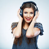 Music woman  portrait. Female model studio isolate Stock Images