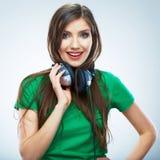 Music woman  portrait. Female model studio isolate Royalty Free Stock Photos
